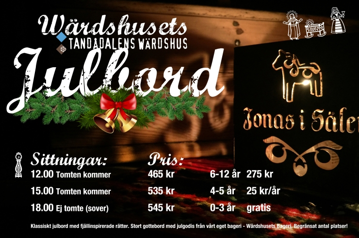 Fira jul i Sälen, i Tandådalen. Boka Julbord på Tandådalens Wärdshus - ett klassiskt julbord med fjällinspirerade rätter och ett stort gottebord med julgodis från vårt egna bageri - Wärdshusets Bageri. Boka idag, vi har begränsat antal platser per sittning. Kom och fira jul med oss på julafton, på Tandådalens Wärdshus, mitt i backen