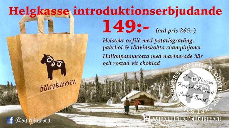 Sälenkassen, Jonas i Sälen, helgkasse, julkasse, julbord, festkasse, festmiddag, stugmiddag, middag i stugan, Sälen, mat i Sälen, matkasse, matkasse sälen, middagskasse, middagskasse sälen
